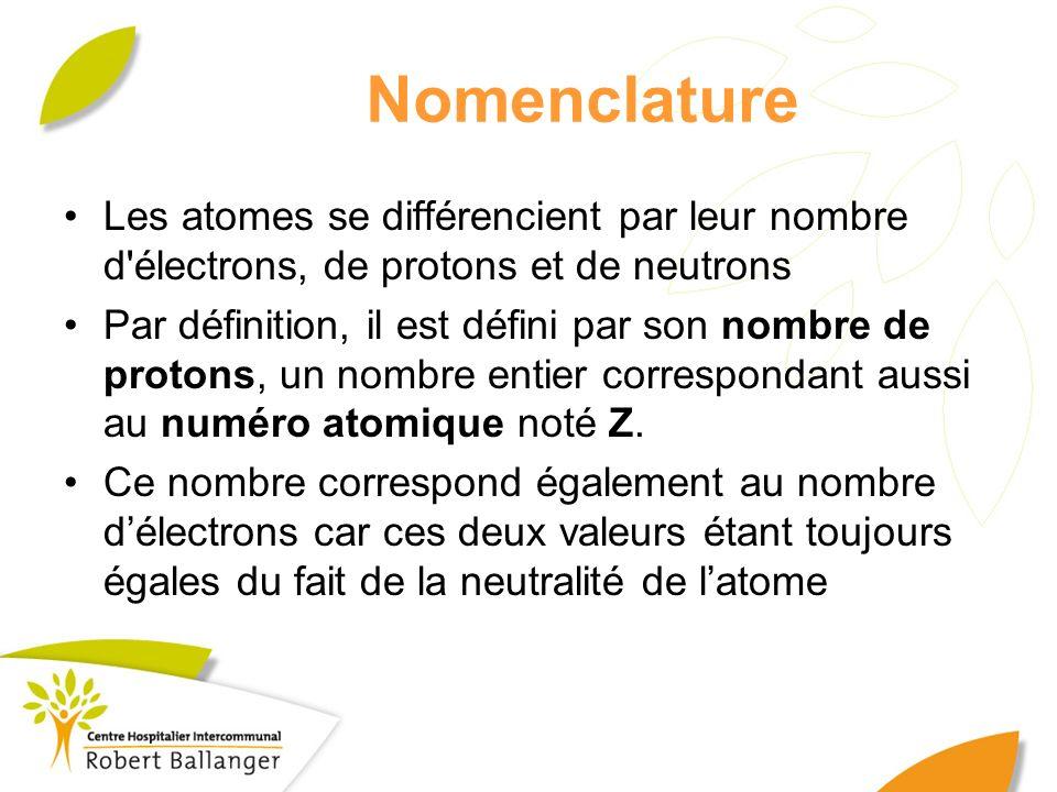 Nomenclature Les atomes se différencient par leur nombre d électrons, de protons et de neutrons.