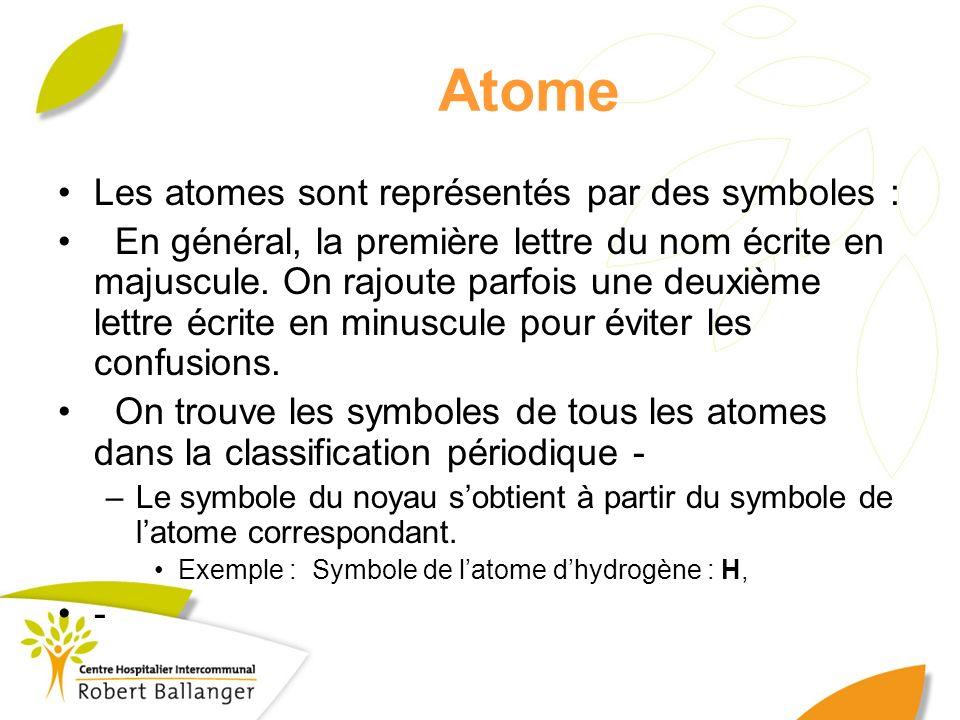 Atome Les atomes sont représentés par des symboles :