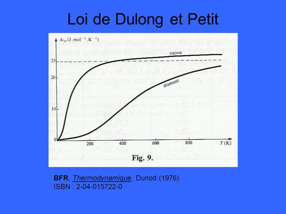 Loi de Dulong et Petit BFR, Thermodynamique, Dunod (1976)