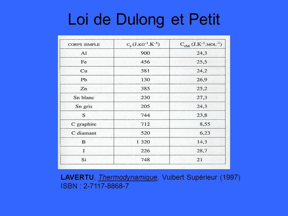 Loi de Dulong et Petit LAVERTU, Thermodynamique, Vuibert Supérieur (1997) ISBN : 2-7117-8868-7