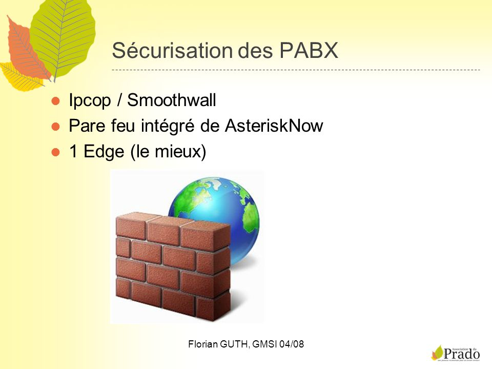Sécurisation des PABX Ipcop / Smoothwall