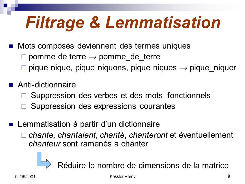 Filtrage & Lemmatisation