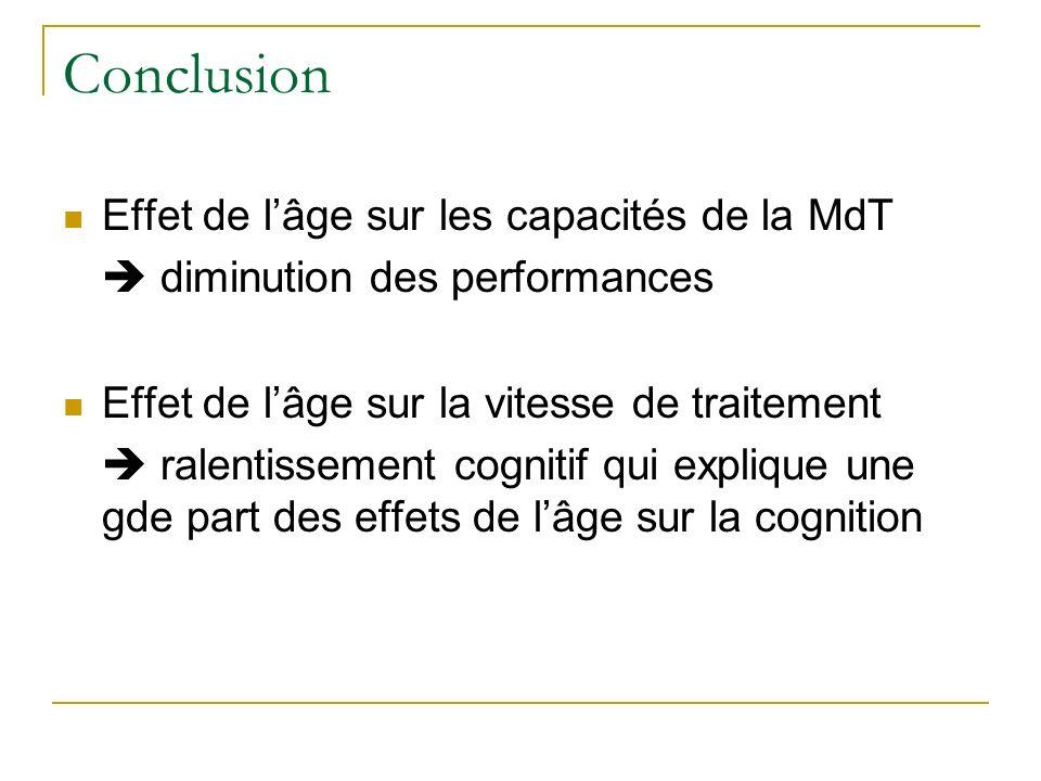 Conclusion Effet de l'âge sur les capacités de la MdT