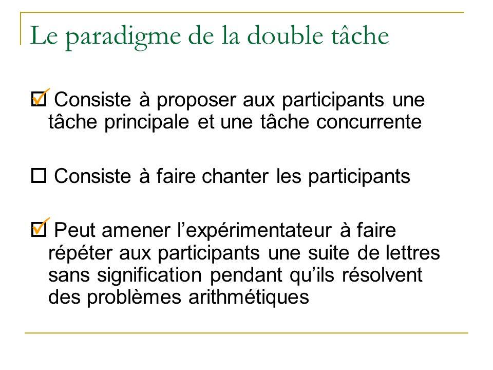 Le paradigme de la double tâche