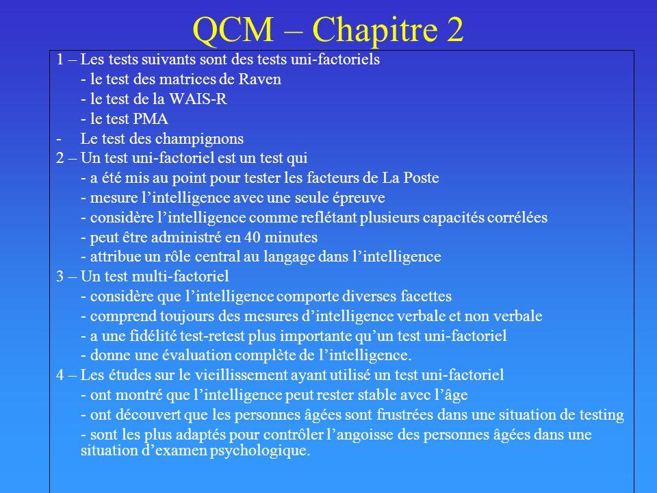 QCM – Chapitre 2 1 – Les tests suivants sont des tests uni-factoriels