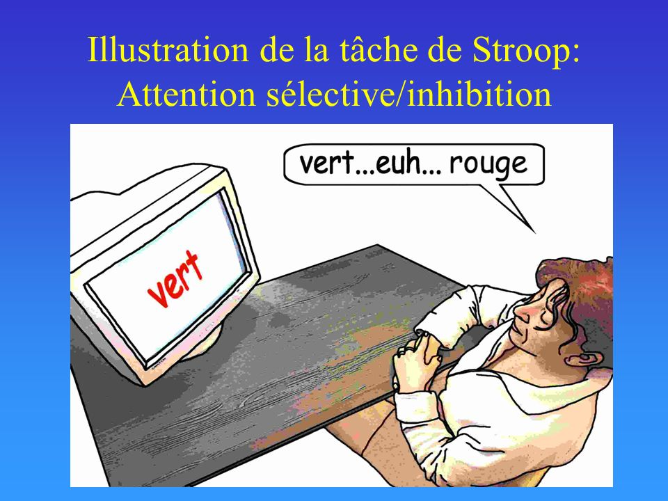 Illustration de la tâche de Stroop: Attention sélective/inhibition
