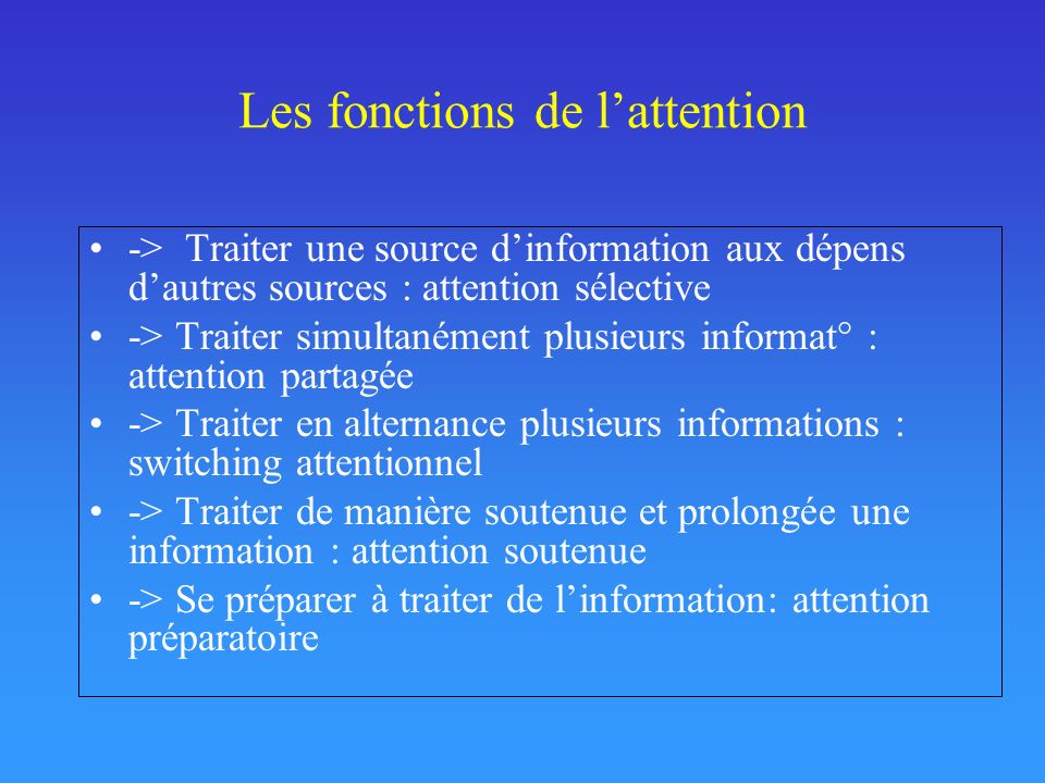 Les fonctions de l'attention
