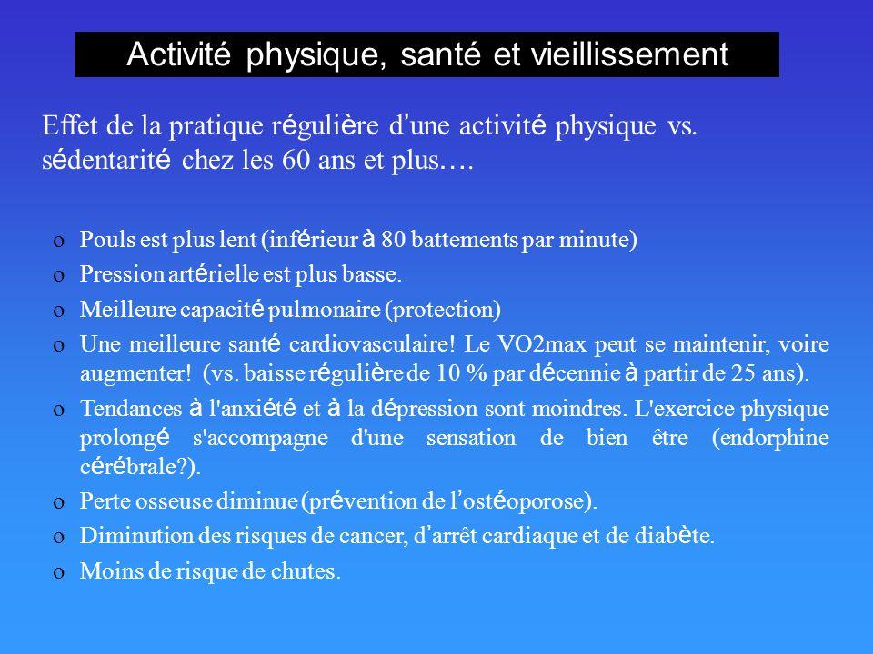Activité physique, santé et vieillissement