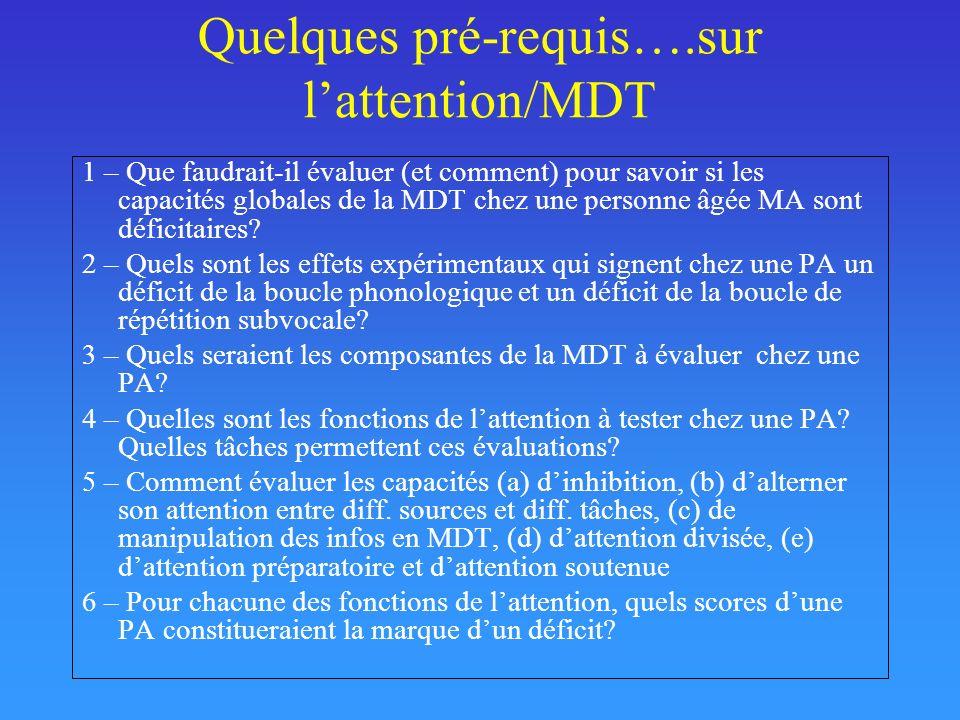Quelques pré-requis….sur l'attention/MDT