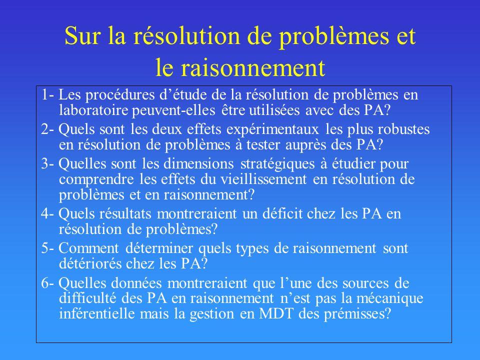 Sur la résolution de problèmes et le raisonnement