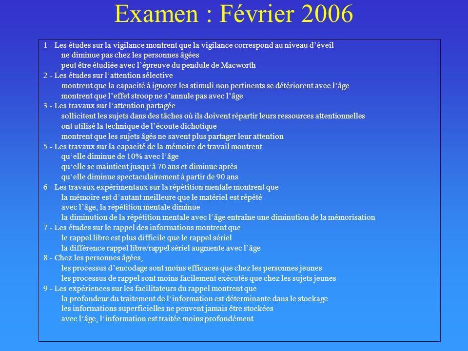 Examen : Février 20061 - Les études sur la vigilance montrent que la vigilance correspond au niveau d'éveil.