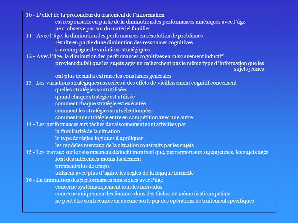 10 - L'effet de la profondeur du traitement de l'information