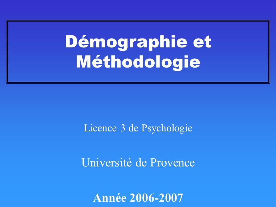 Démographie et Méthodologie
