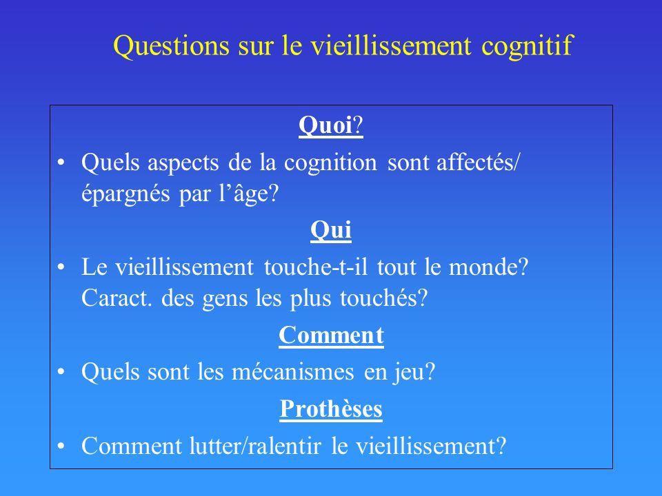 Questions sur le vieillissement cognitif