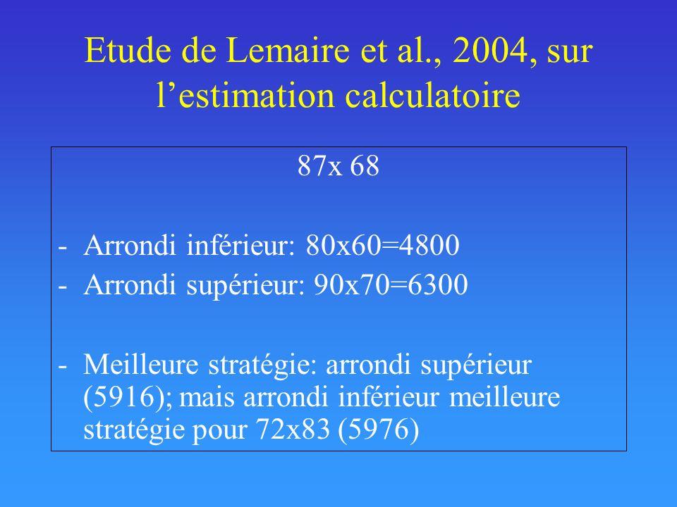Etude de Lemaire et al., 2004, sur l'estimation calculatoire