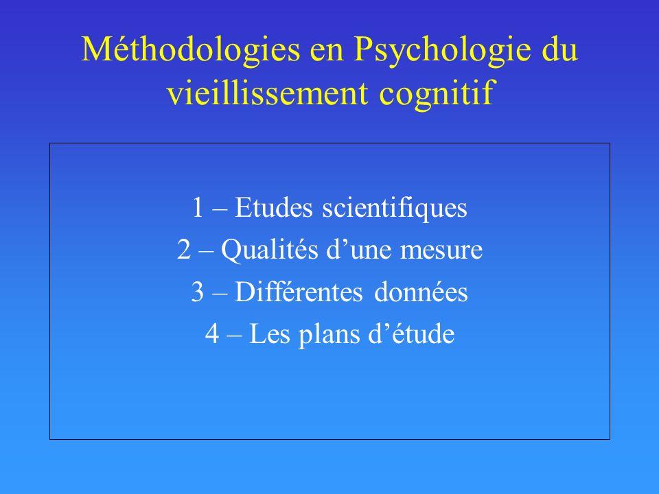 Méthodologies en Psychologie du vieillissement cognitif