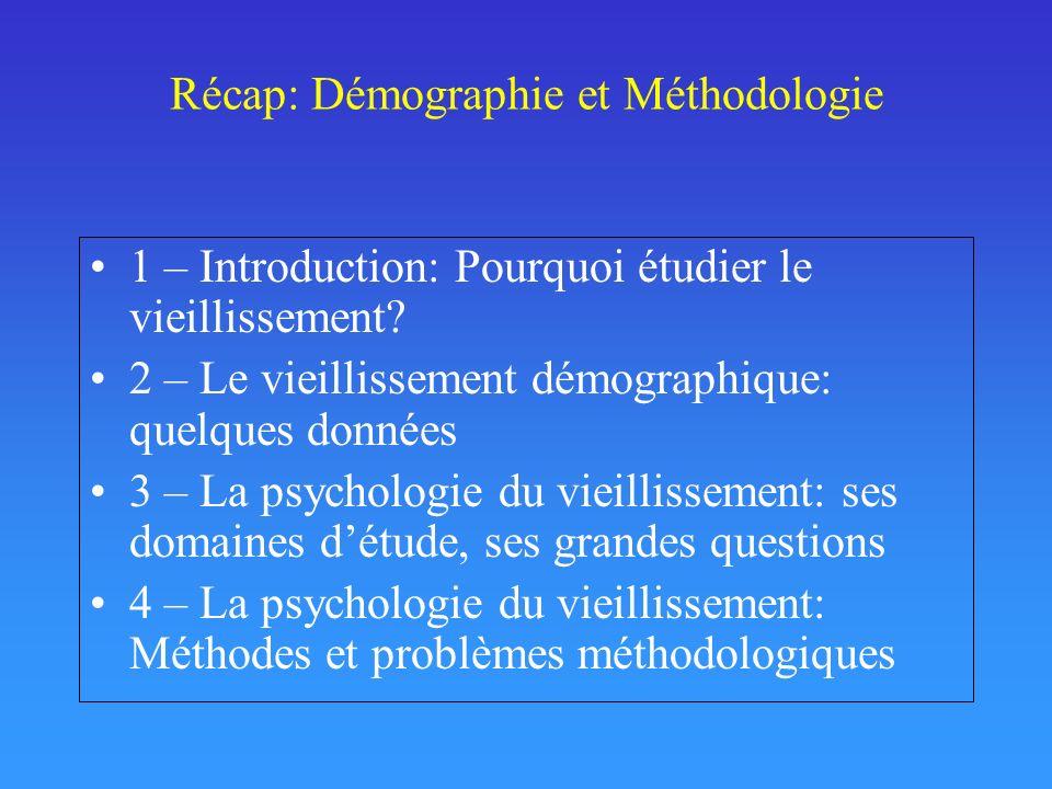 Récap: Démographie et Méthodologie