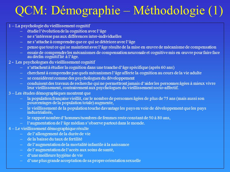 QCM: Démographie – Méthodologie (1)