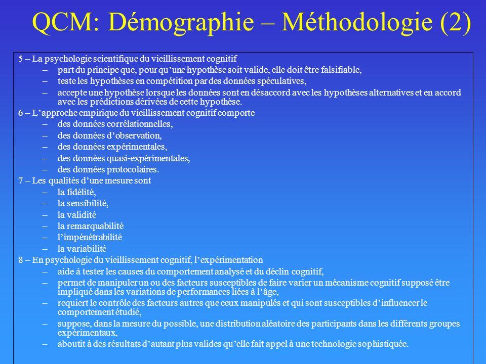 QCM: Démographie – Méthodologie (2)