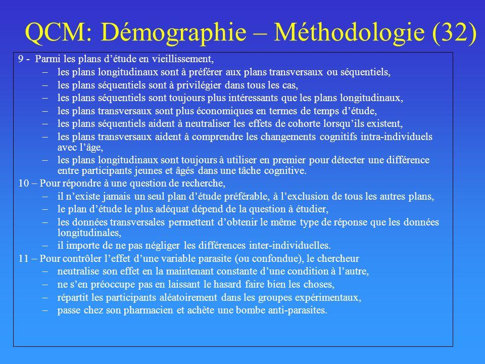 QCM: Démographie – Méthodologie (32)