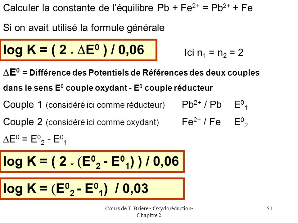 Cours de T. Briere - Oxydoréduction- Chapitre 2