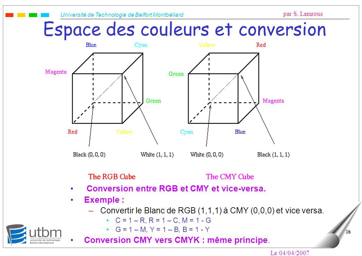 Espace des couleurs et conversion
