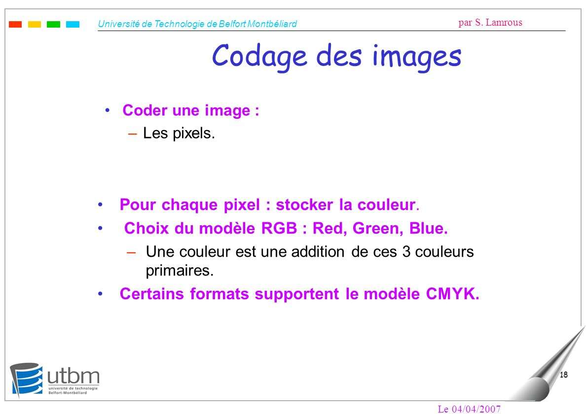 Codage des images Pour chaque pixel : stocker la couleur.
