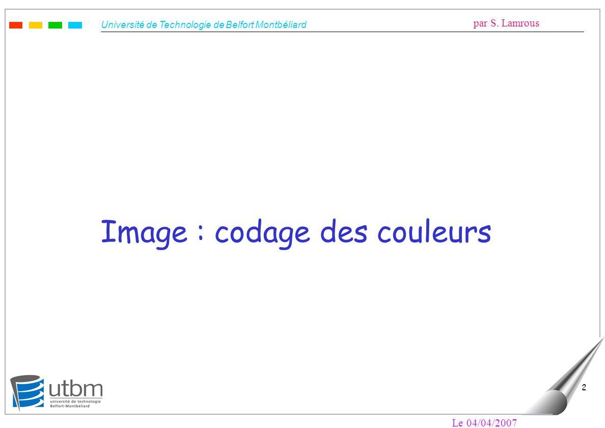 Image : codage des couleurs