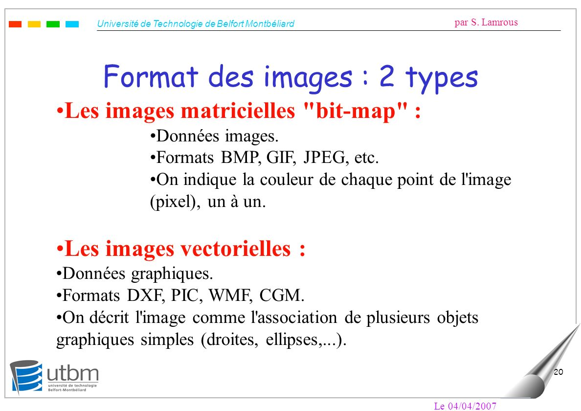 Format des images : 2 types