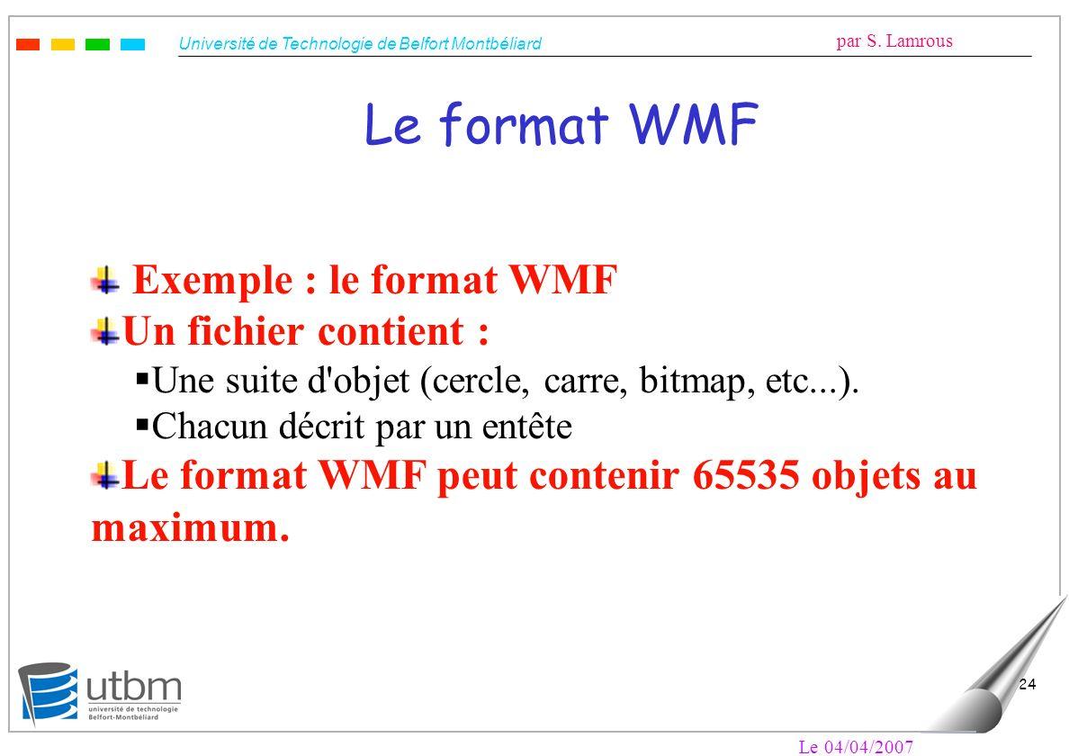 Le format WMF Exemple : le format WMF Un fichier contient :