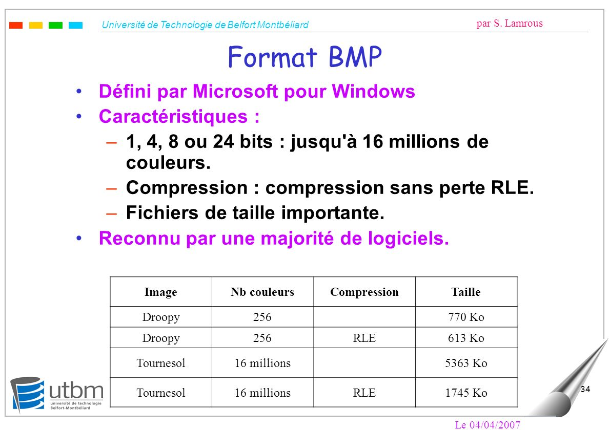 Format BMP Défini par Microsoft pour Windows Caractéristiques :