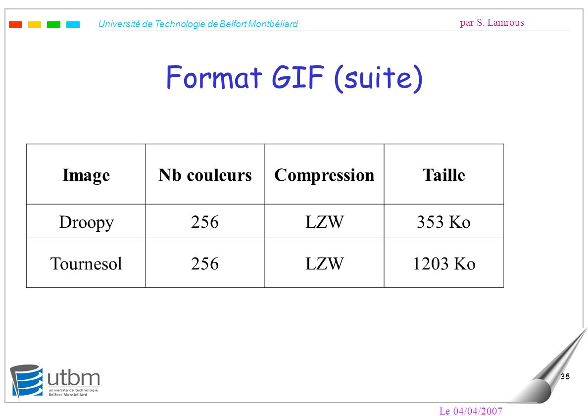 Format GIF (suite) Image Nb couleurs Compression Taille Droopy 256 LZW