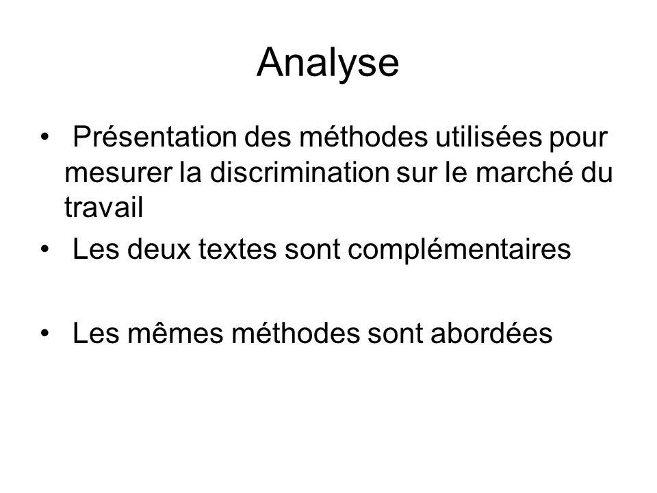 Analyse Présentation des méthodes utilisées pour mesurer la discrimination sur le marché du travail.
