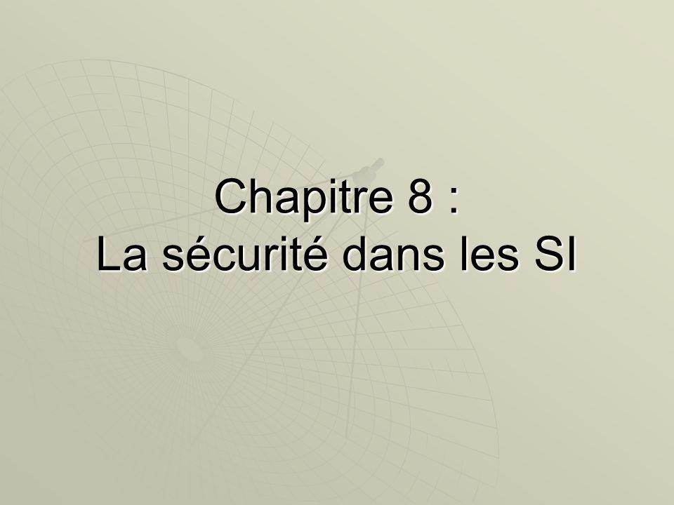 Chapitre 8 : La sécurité dans les SI
