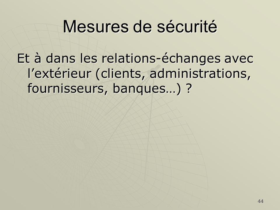 Mesures de sécurité Et à dans les relations-échanges avec l'extérieur (clients, administrations, fournisseurs, banques…)