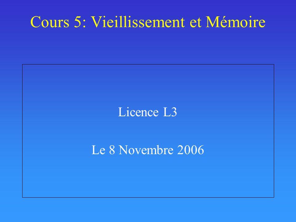 Cours 5: Vieillissement et Mémoire
