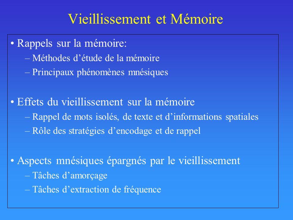 Vieillissement et Mémoire