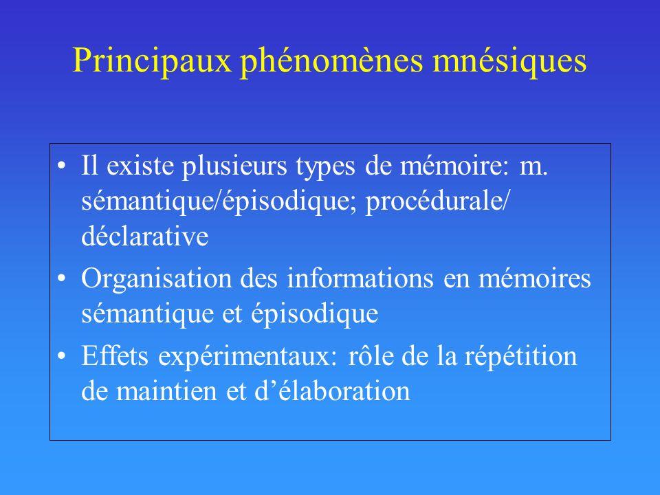 Principaux phénomènes mnésiques