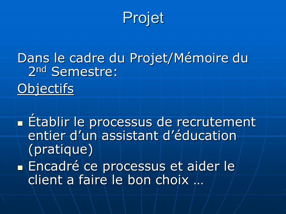 Projet Dans le cadre du Projet/Mémoire du 2nd Semestre: Objectifs
