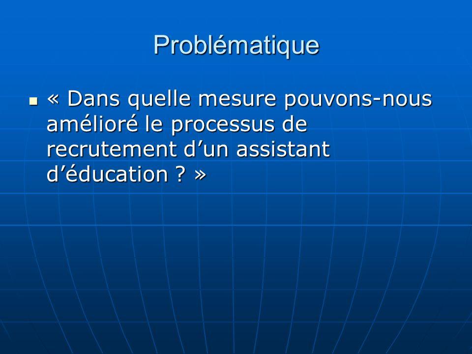 Problématique « Dans quelle mesure pouvons-nous amélioré le processus de recrutement d'un assistant d'éducation »