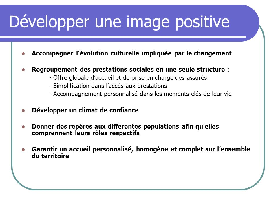 Développer une image positive