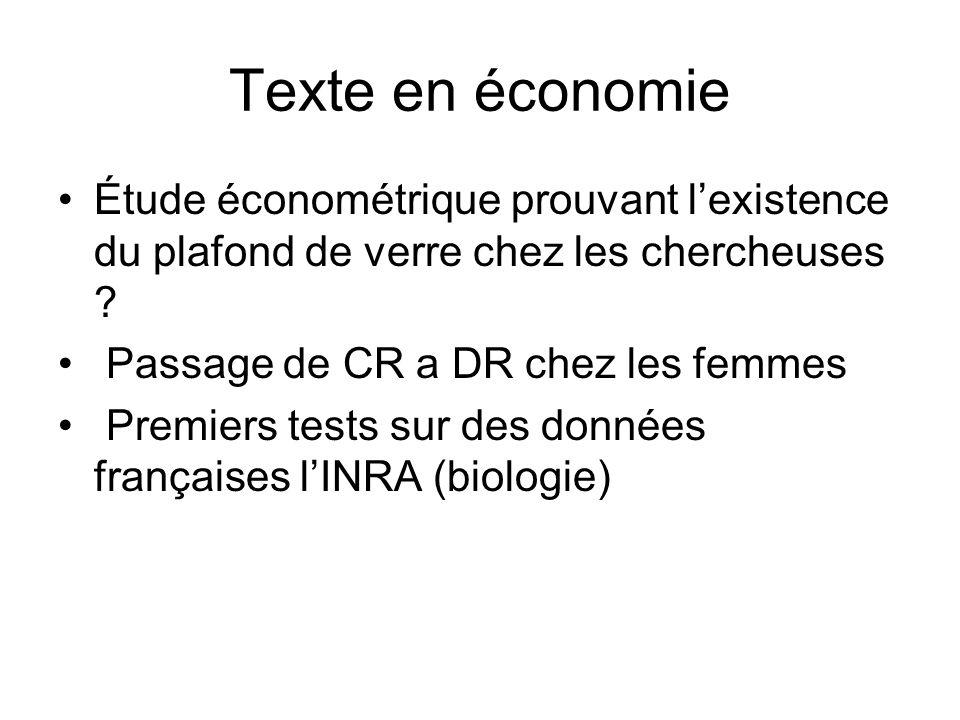 Texte en économie Étude économétrique prouvant l'existence du plafond de verre chez les chercheuses
