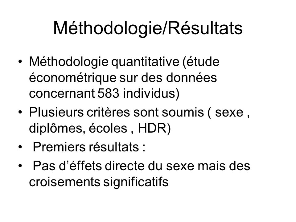 Méthodologie/Résultats