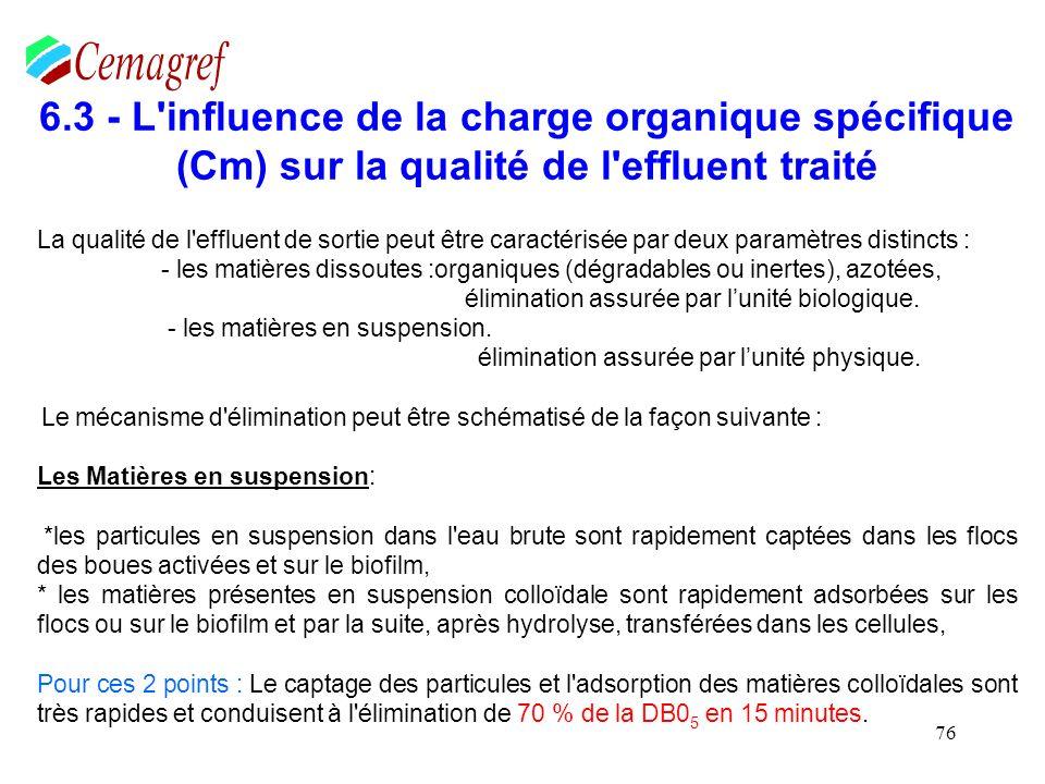 En conclusion, La charge organique spécifique intervient sur la quantité et la qualité souhaitées des boues.