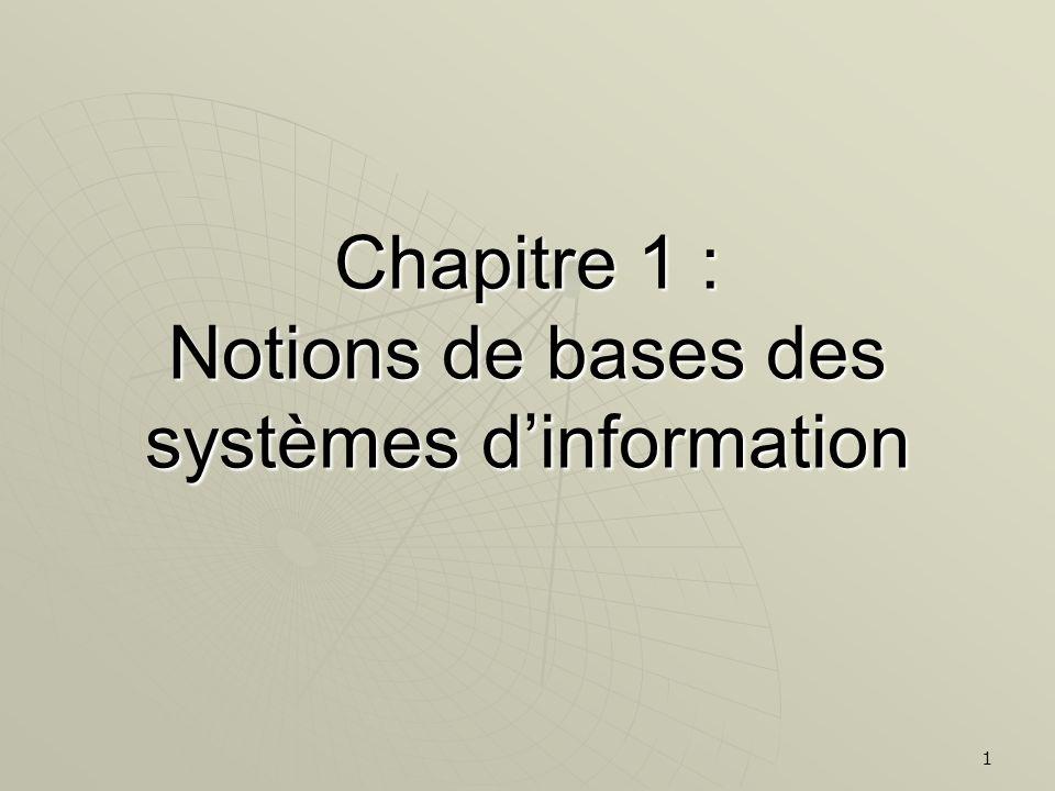 Chapitre 1 : Notions de bases des systèmes d'information