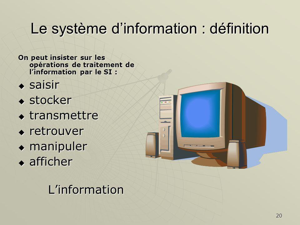 Le système d'information : définition