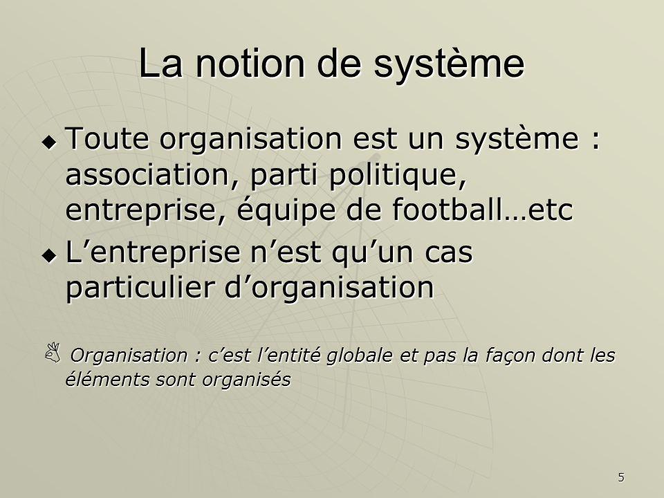 La notion de système Toute organisation est un système : association, parti politique, entreprise, équipe de football…etc.