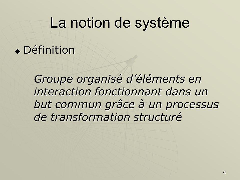 La notion de système Définition