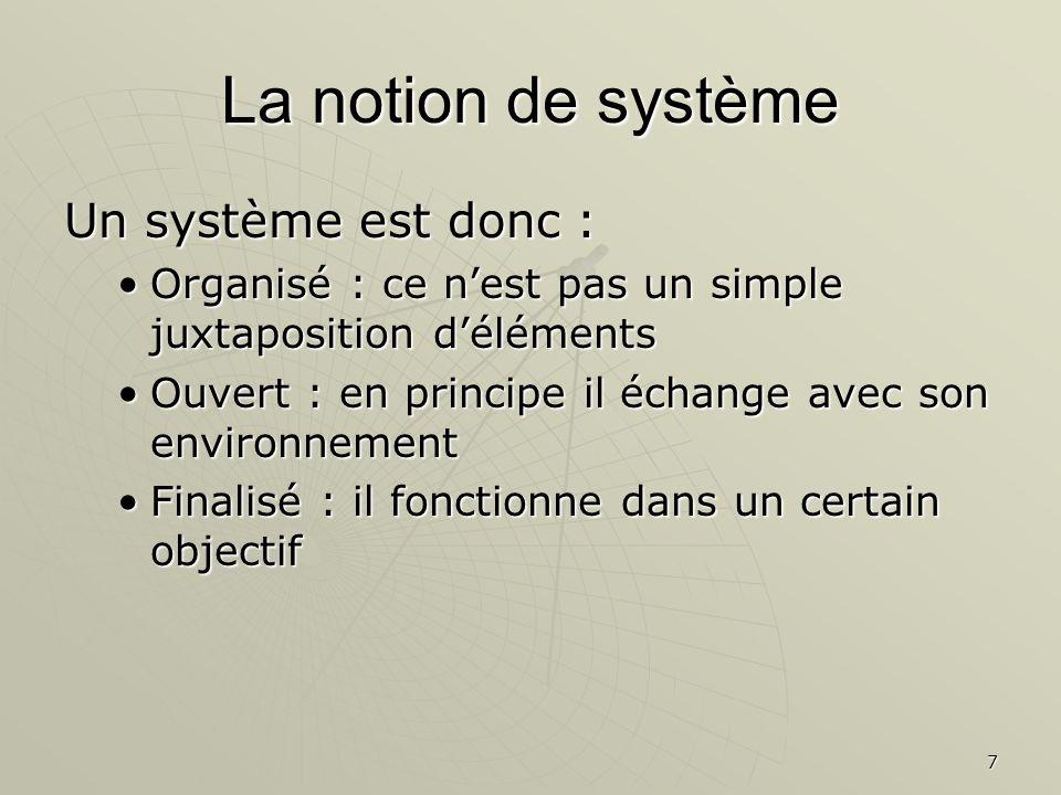 La notion de système Un système est donc :