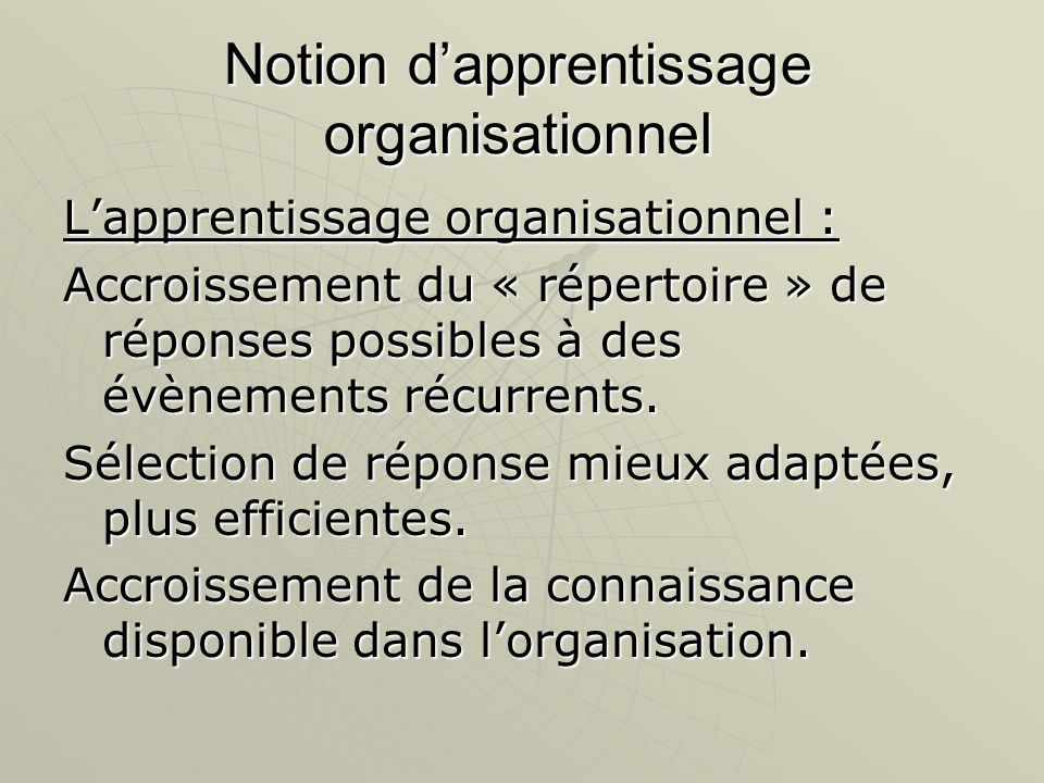 Notion d'apprentissage organisationnel